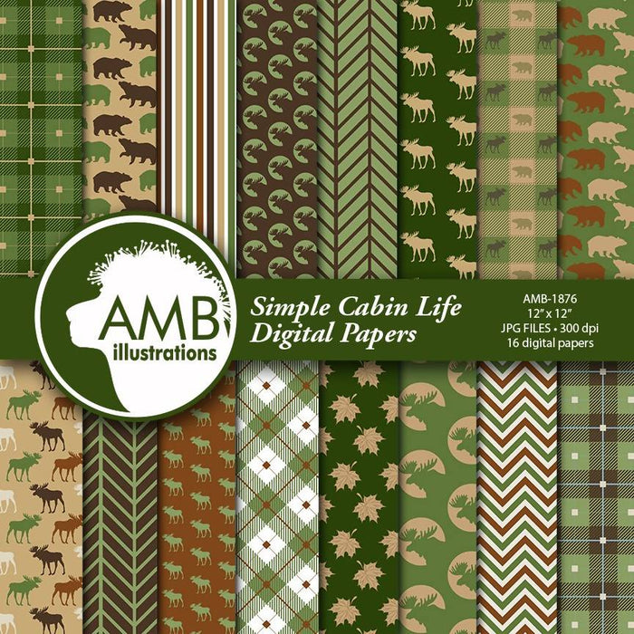 Cabin digital paper, Family lodge scrapbook paper, rustic digital paper, plaid, buffalo, moose, bear, paper, instant download, AMB-1876 Digital Paper & Backgrounds AMBillustrations    Mygrafico
