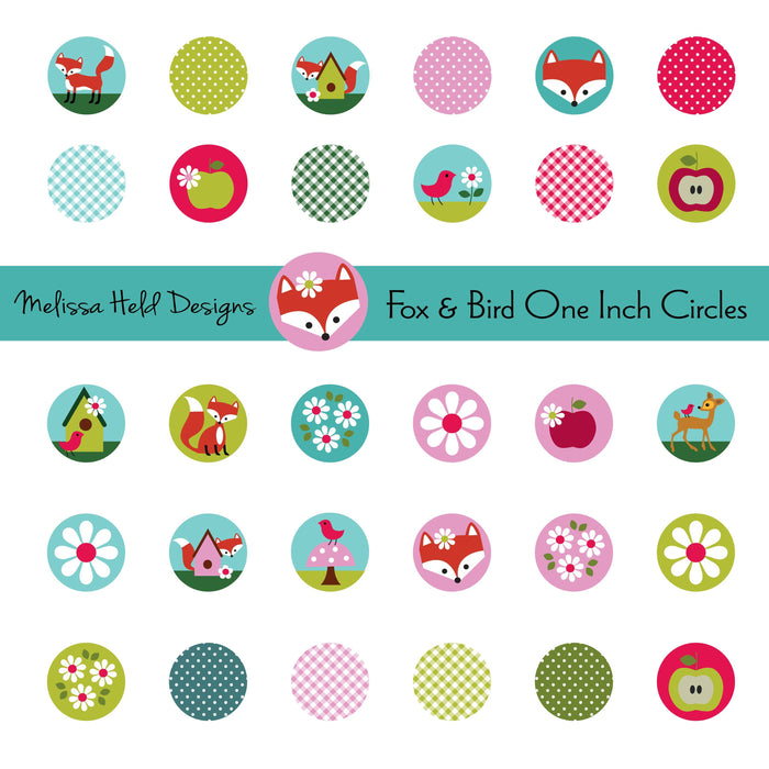 Fox and Bird One Inch Circles Clipart Printable Templates Melissa Held Designs    Mygrafico
