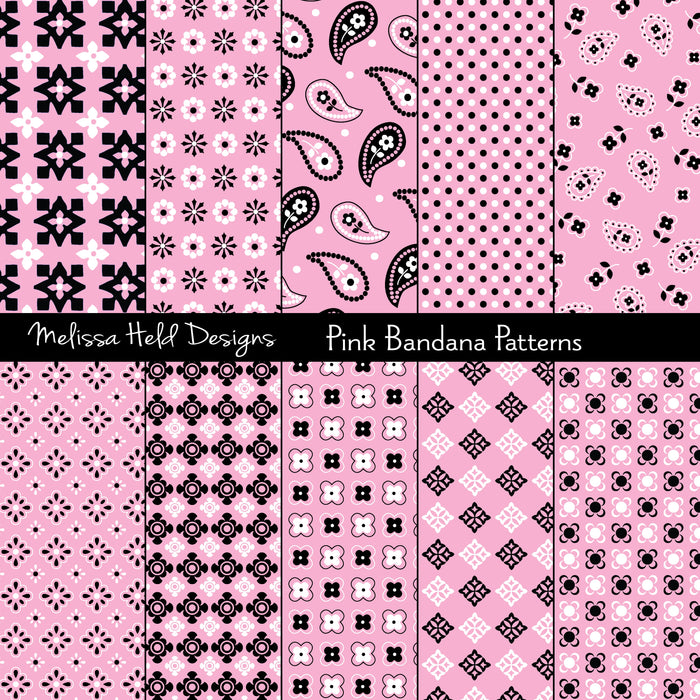 Pink Bandana Patterns Digital Paper & Backgrounds Melissa Held Designs    Mygrafico