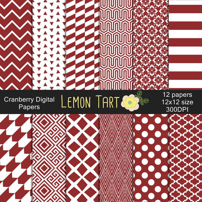 Cranberry Digital papers  Lemon Tart    Mygrafico