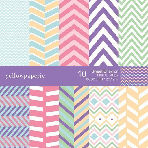 Sweet Chevron Digital Paper  Yellowpaperie    Mygrafico