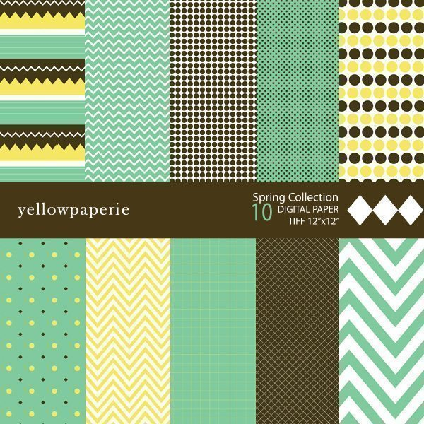 Spring Chevron Digital Papers  Yellowpaperie    Mygrafico