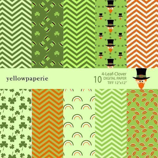 4 LEAF CLOVERS Digital Papers & Background Yellowpaperie    Mygrafico