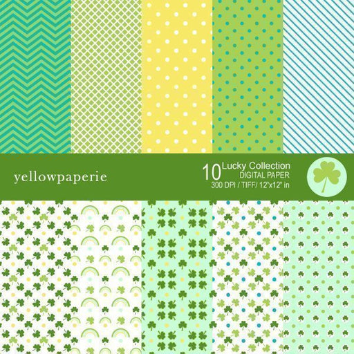 LUCKY SET Digital Papers & Background Yellowpaperie    Mygrafico