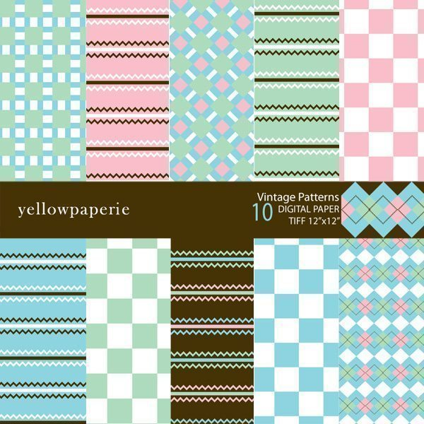 VINTAGE PATTERNS  Yellowpaperie    Mygrafico