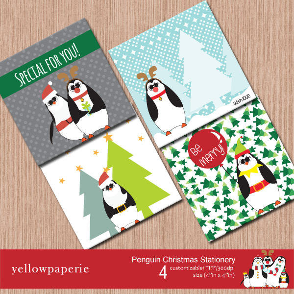 Penguins Christmas Stationery  Yellowpaperie    Mygrafico