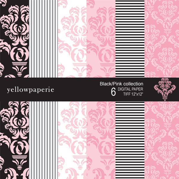Black Pink Damask Collection  Yellowpaperie    Mygrafico