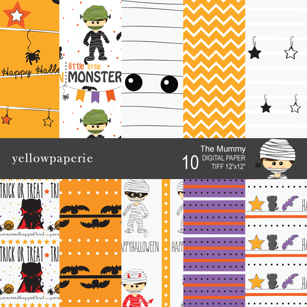 The Mummy Collection Digital Paper  Yellowpaperie    Mygrafico