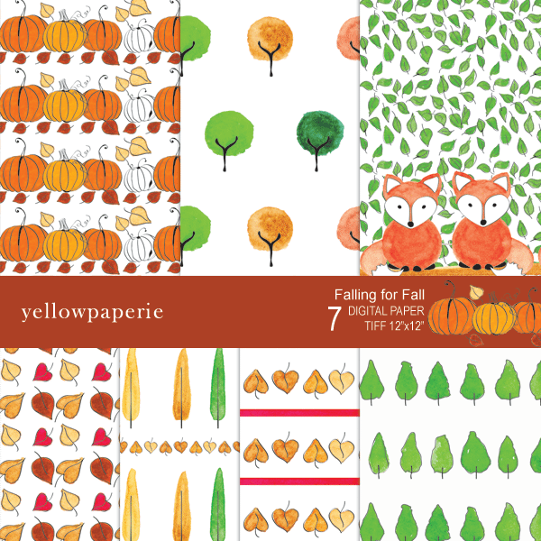 Falling for fall Digital Paper  Yellowpaperie    Mygrafico