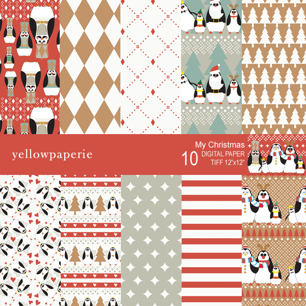 My Christmas Digital Papers & Backgrounds Yellowpaperie    Mygrafico