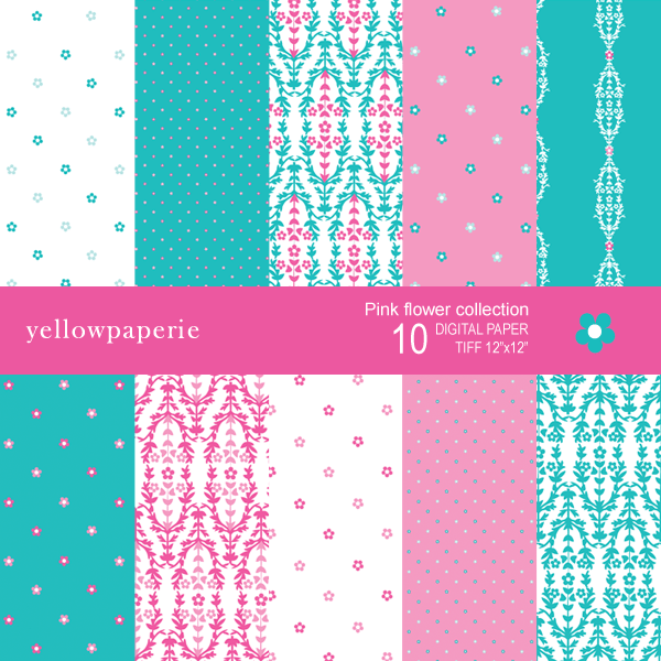 Pink Flowers Digital Papers  Yellowpaperie    Mygrafico