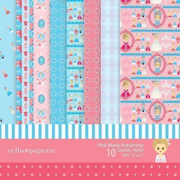 Pink Marie Antoinette Digital Papers Digital Papers & Background Yellowpaperie    Mygrafico