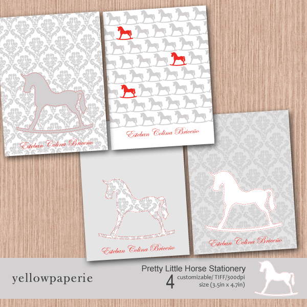 Pretty Little Horse Stationery  Yellowpaperie    Mygrafico