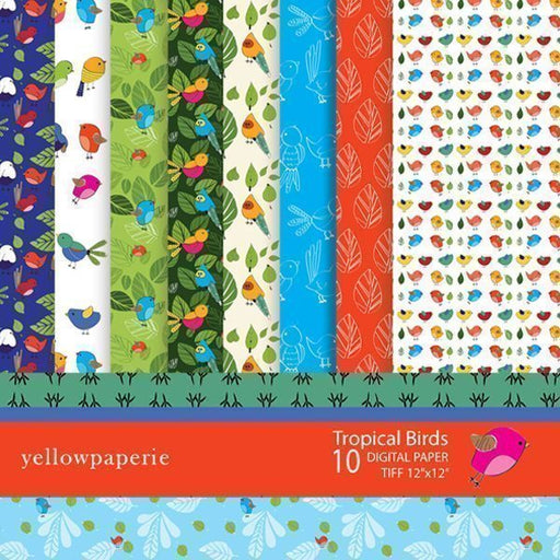 Tropical Birds Digital Paper  Yellowpaperie    Mygrafico