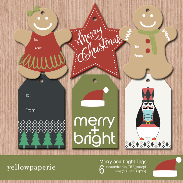 Merry and Bright tags Printable Templates Yellowpaperie    Mygrafico