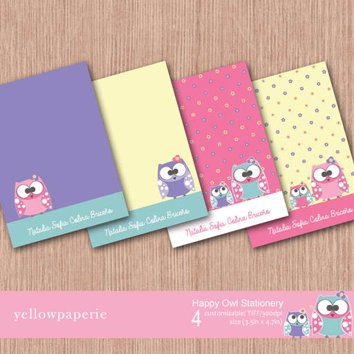 Happy Owl Stationery  Yellowpaperie    Mygrafico