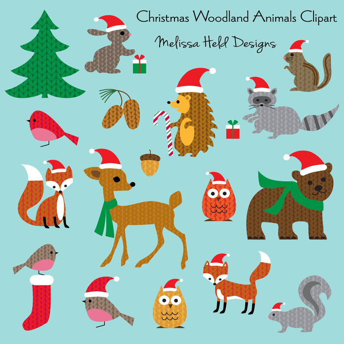 Christmas Woodland Animals Clipart Cliparts Melissa Held Designs    Mygrafico