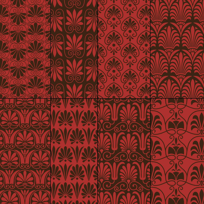Red and Brown Greek Ornamental Patterns