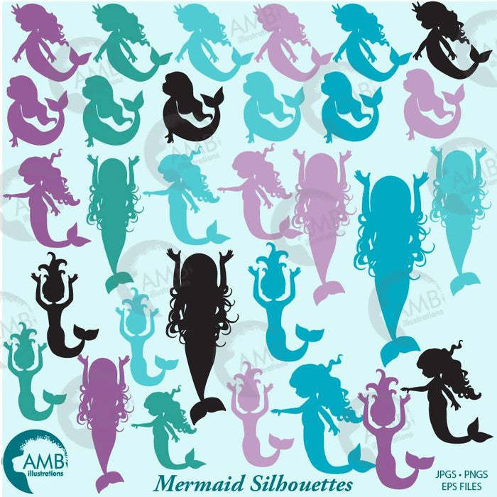 COMBO Mermaid silhouettes Clipart and Digital Paper, Nautical Clipart, AMB-1736 Bundles AMBillustrations    Mygrafico