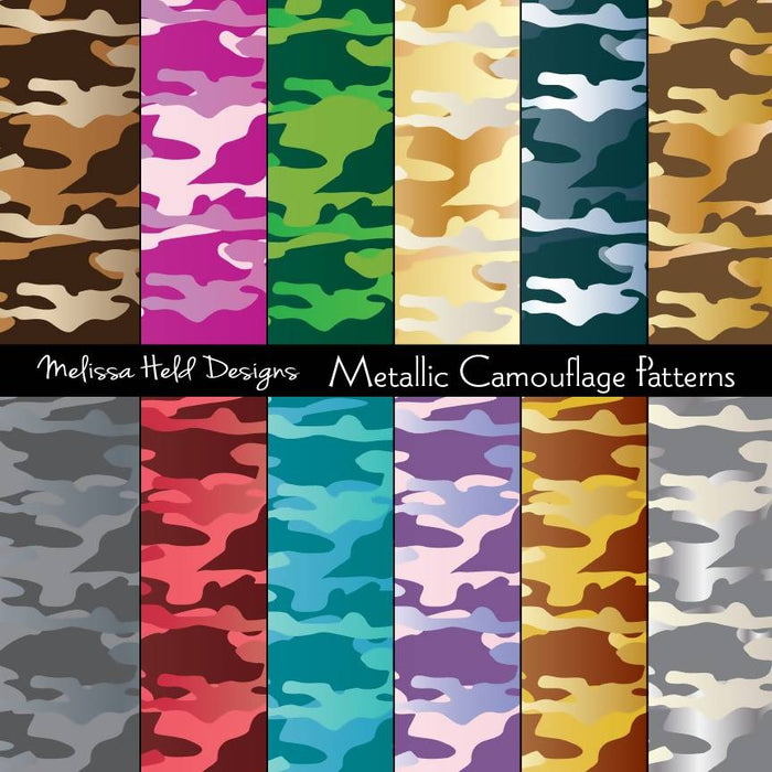 Metallic Effect Camouflage Patterns Digital Paper & Backgrounds Melissa Held Designs    Mygrafico