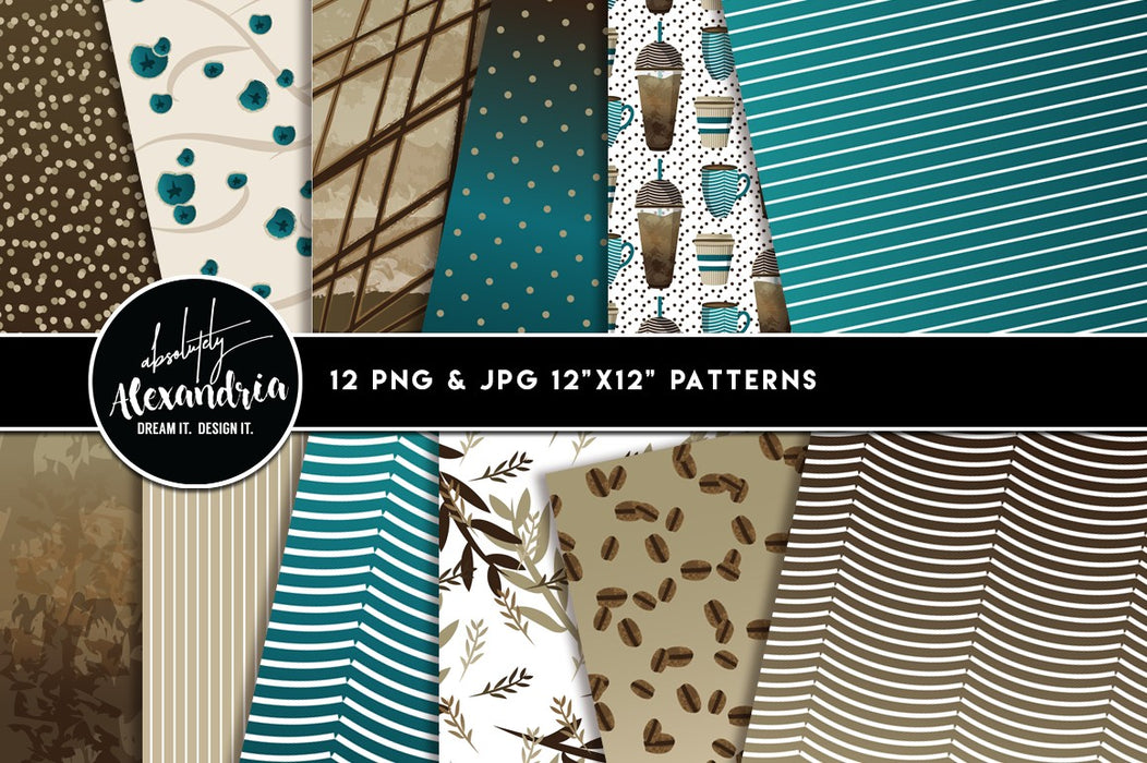 Corner Cup Coffee Digital Clipart Graphics, Illustrations & Pattern Papers Bundle Clipart & Digital Paper Absolutely Alexandria    Mygrafico