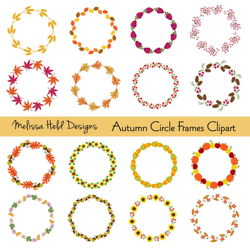 Autumn Circle Frames Digital Clipart Cliparts Melissa Held Designs    Mygrafico