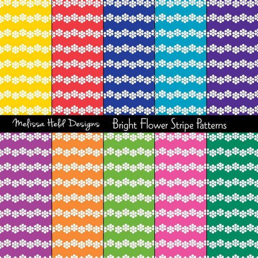 Bright Flower Stripe Patterns Digital Paper & Backgrounds Melissa Held Designs    Mygrafico