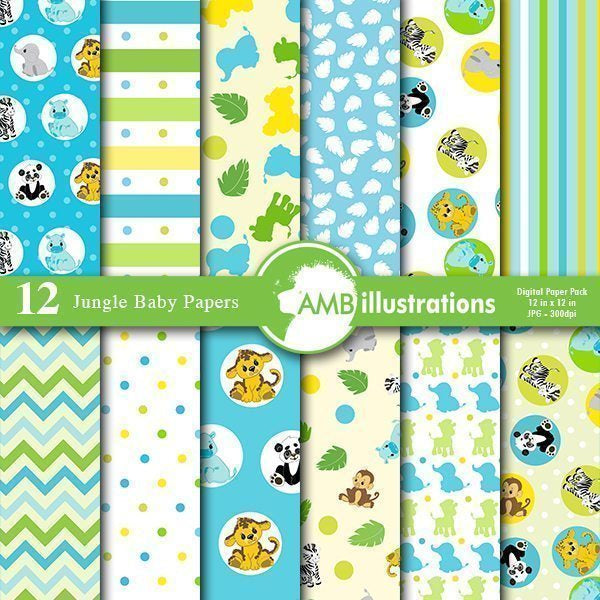 Jungle Baby Papers and Backgrounds  AMBillustrations    Mygrafico