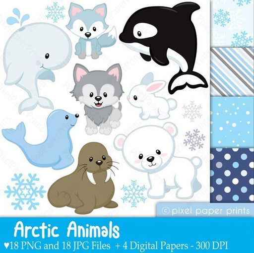 Arctic animals Clipart & Digital Papers  Pixel Paper Prints    Mygrafico