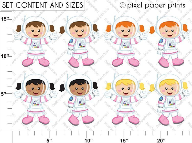 Astronaut Girl Clipart & Digital Papers  Pixel Paper Prints    Mygrafico