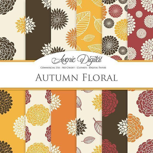 Autumn floral Digital Paper  Avenie Digital    Mygrafico