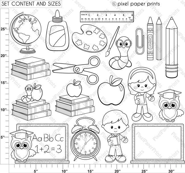 Back to School Digital Stamps Set  Pixel Paper Prints    Mygrafico