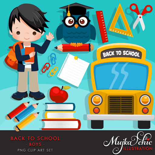Back to school Clipart for Boys  Mujka Chic    Mygrafico
