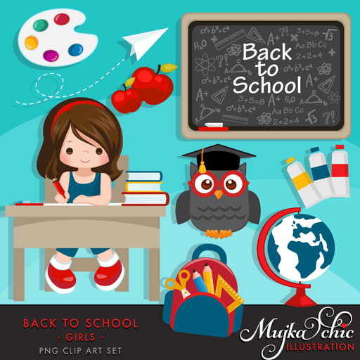 Back to school Clipart Girls  Mujka Chic    Mygrafico