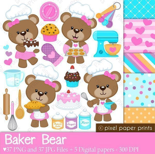 Baker Bear Clipart and Digital Papers