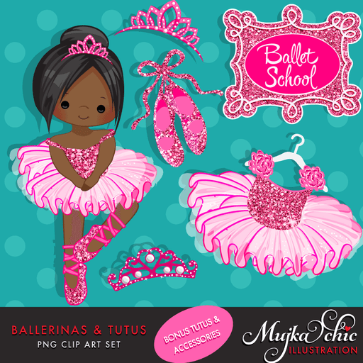 Ballerinas and Tutus Hot Pink Glitter Clipart