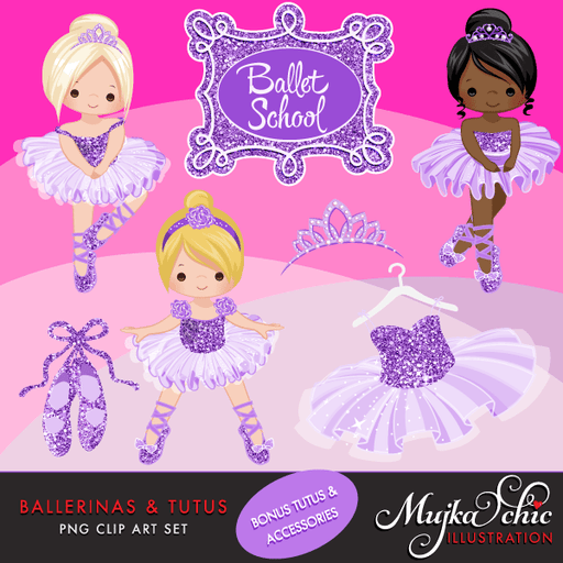 Ballerinas and Tutus Purple Glitter Clipart