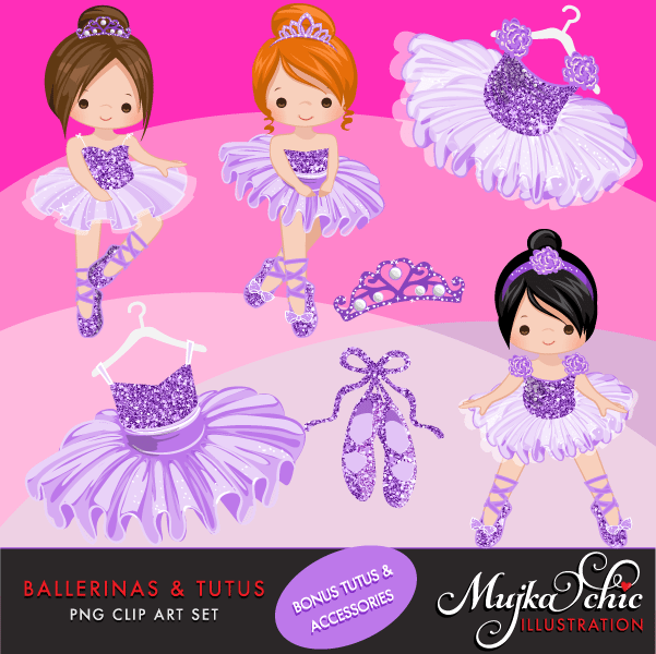 Ballerinas and Tutus Purple Glitter Clipart  Mujka Chic    Mygrafico