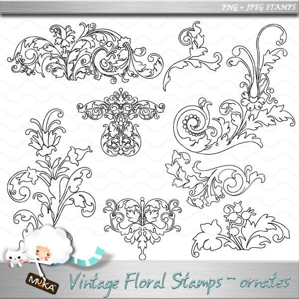 Floral Ornate Digital Stamps  Mujka Chic    Mygrafico