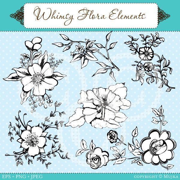 Whimsy Flora Elements 1  Mujka Chic    Mygrafico