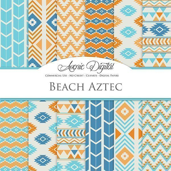 Beach Aztec Digital Paper  Avenie Digital    Mygrafico