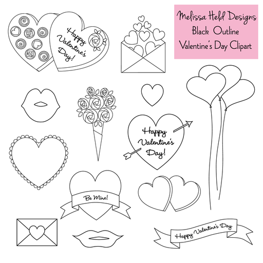 Valentines Day Outlines - Digital Stamps Digital Stamps Melissa Held Designs    Mygrafico