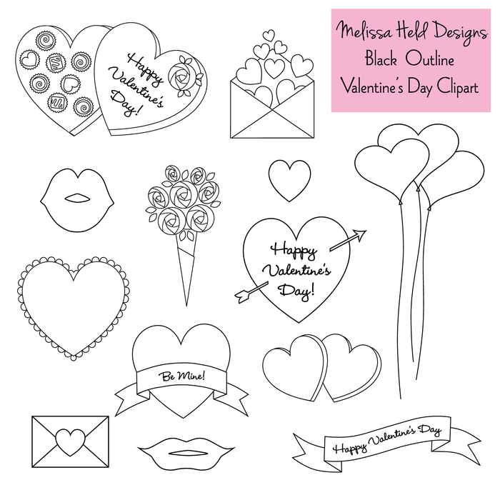 Valentines Day Outlines Digital Stamps Mygrafico