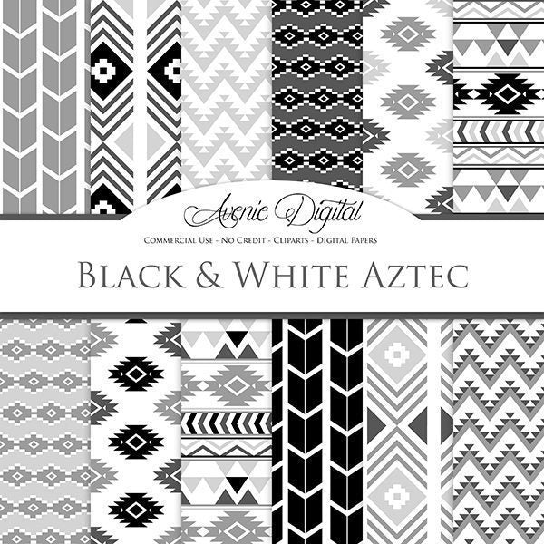 Black and White Aztec Digital Paper  Avenie Digital    Mygrafico