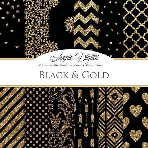 Black and Gold Digital Paper  Avenie Digital    Mygrafico