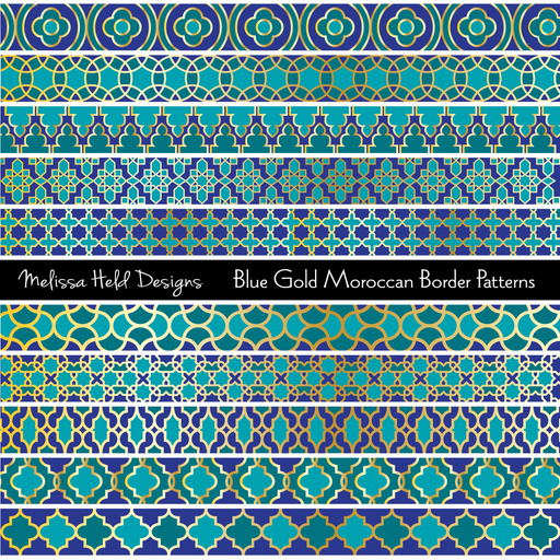 Blue & Gold Moroccan Border Patterns Digital Papers & Background Melissa Held Designs    Mygrafico