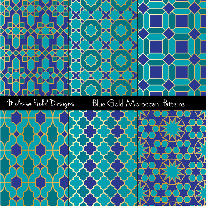 Blue and Gold Moroccan Patterns Digital Papers & Background Melissa Held Designs    Mygrafico