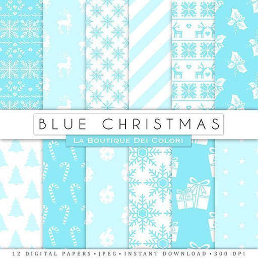 Blue Christmas Digital Paper  La Boutique Dei Colori    Mygrafico