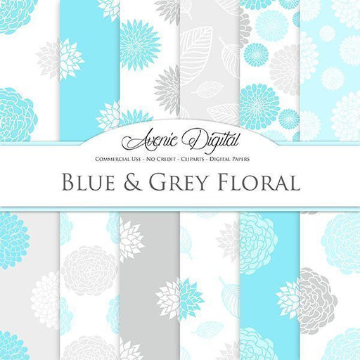 Blue and gray floral Digital Paper  Avenie Digital    Mygrafico