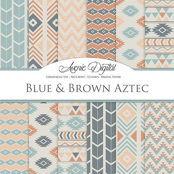 Blue and Brown Aztec Digital Paper  Avenie Digital    Mygrafico
